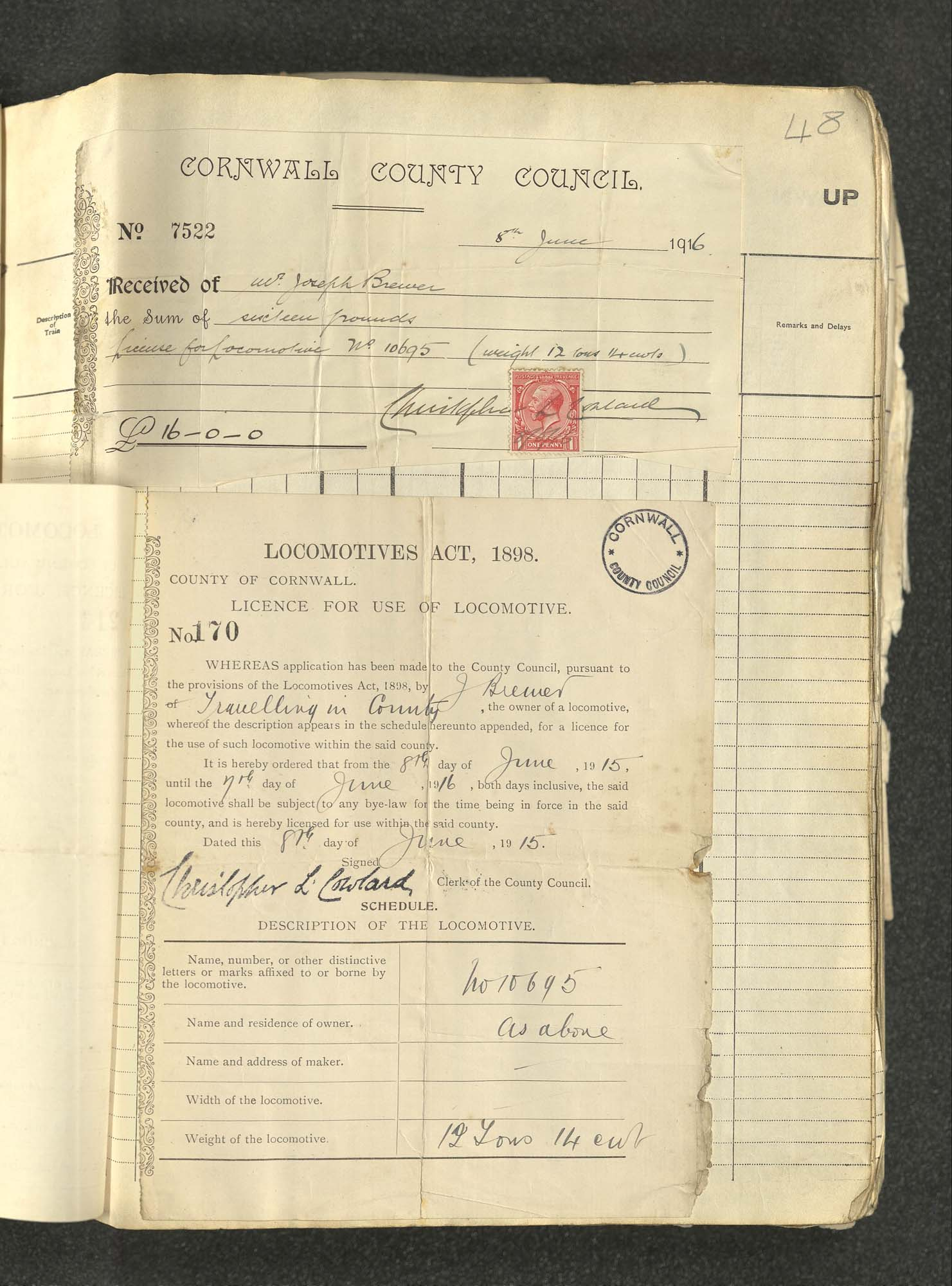Receipt and licences, locomotive 10695