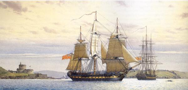 Picture, HMS Indefatigable at Falmouth