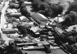 Black and white aerial photograph of Brewery site taken in the 1970s.