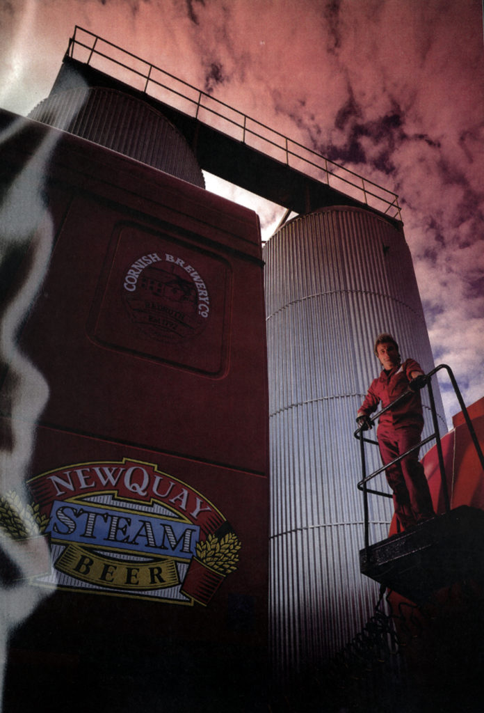 A colour photograph of the Newquay Steam fermentation vessels at Redruth Brewery, taken in mid 1980s.