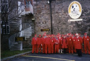 Colour photograph of staff standing outside the Brewery in the 1990s.