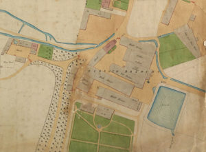 An extract from an 1854 watercolour sanitation map of Redruth showing the brewery, Penventon gardens and a large pond.
