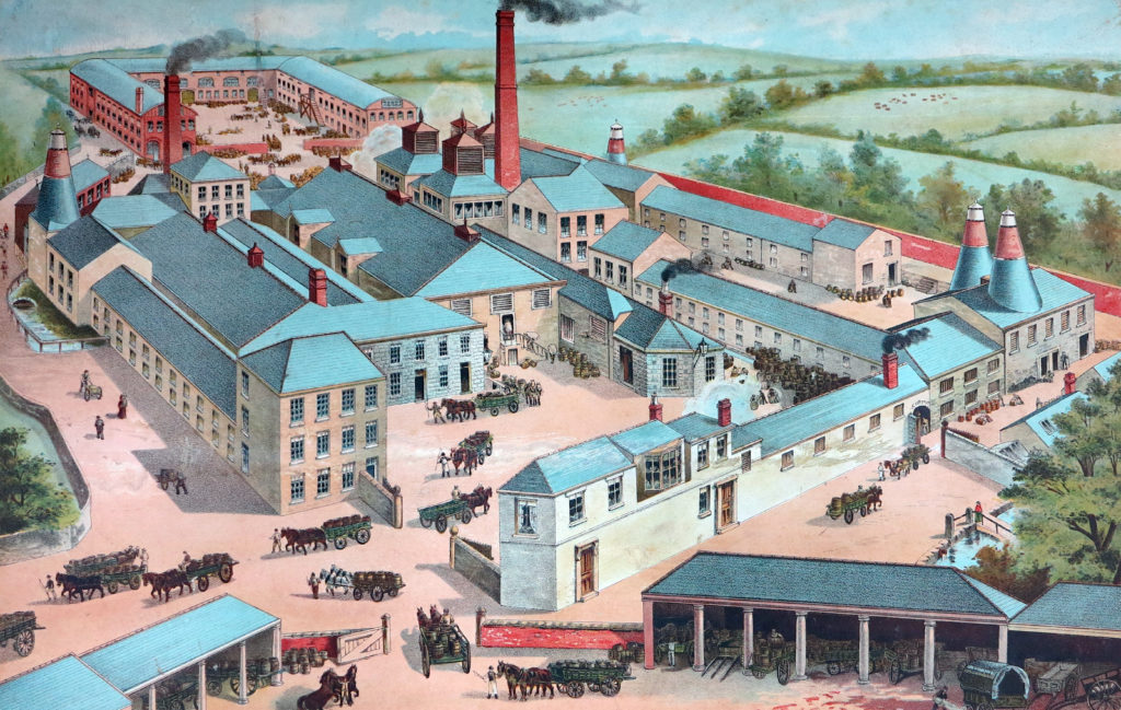 Photograph of painting of Redruth Brewery showing active scene of chimneys, horses and people working. Late 19th century.