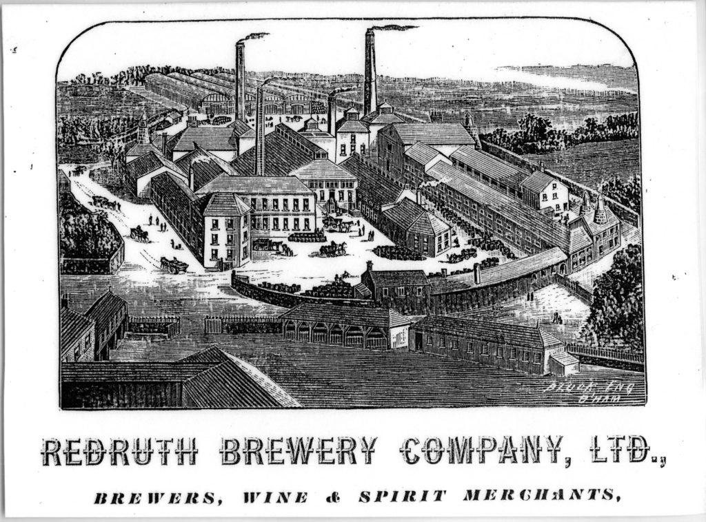Photograph of a black and white advert for Redruth Brewery Company Ltd, from about 1880.