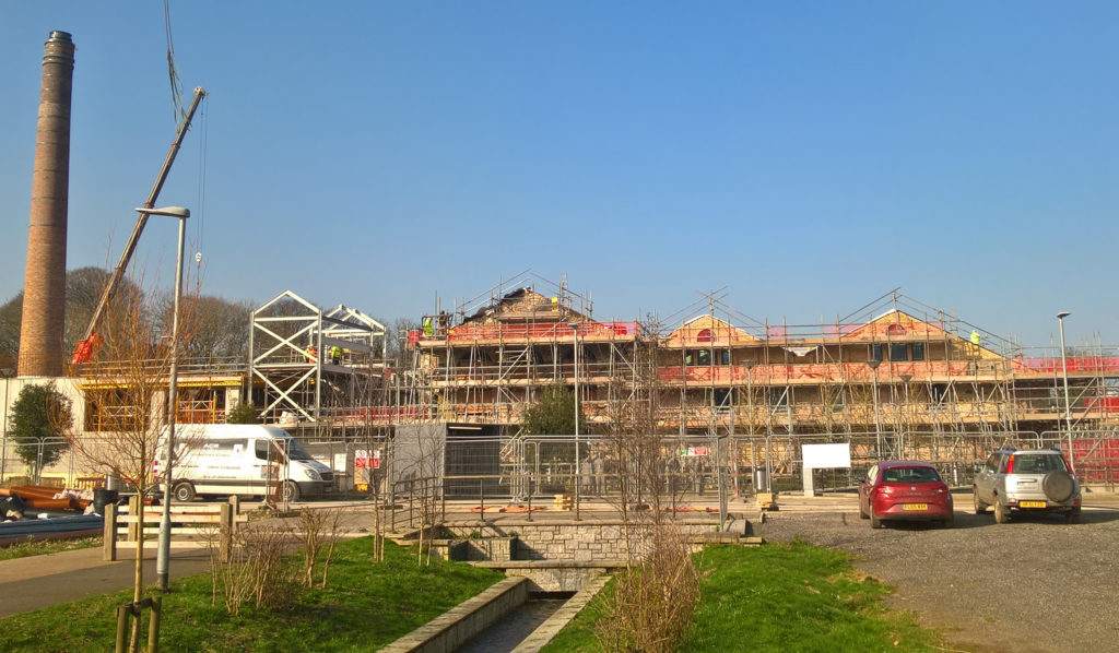 Photograph showing the unfinished Kresen Kernow building in March 2018