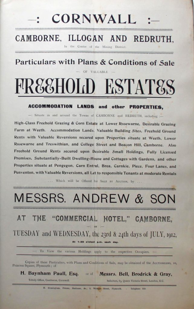 Cover of sale catalogue covering properties in Camborne, Illogan and Redruth dated July 1912.
