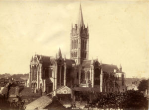 Photograph showing an unfinished Truro Cathedral, taken around 1900-1910.