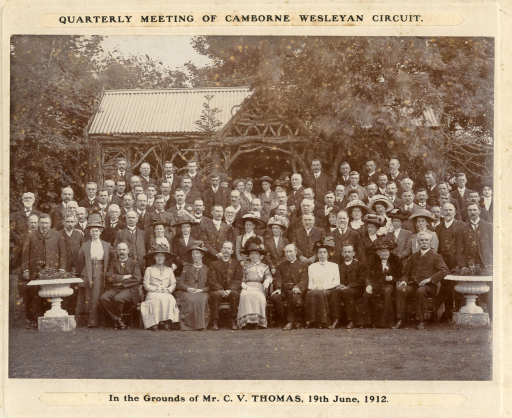 Photograph showing a group of people at the Quarterly Meeting, Camborne Wesleyan Circuit in 1912.