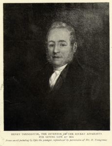 Photograph of a painting of Henry Trengrouse. The inscription notes Trengrouse's invention of the 'rocket apparatus' for saving lives at sea.