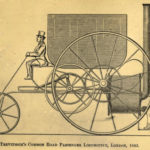 A 19th century print showing one of Richard Trevithick's locomotives.