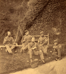 Sepia photograph showing the 6th Cornwall Rifle Volunteers taken on the 17 May 1861.