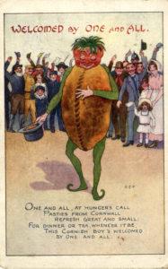 Comic card depicting a cartoon Cornish pasty, 1916.