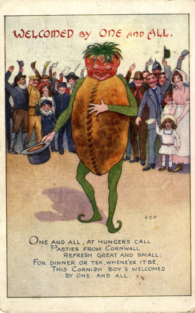 Comic card depicting a cartoon Cornish pasty, 1916.