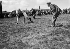 Black and white photograph showing Cornish wrestlers at Bodmin in 1946