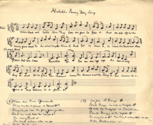 Handwritten sheet music for the Helston Furry (Flora) Day song, early 20th century.