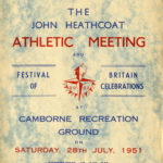 Programme cover for athletic meeting and Festival of Britain celebrations in 1951.