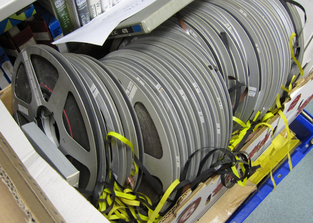 Photograph of donated film reels which form part of our audio visual collections.