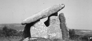 Black and white photograph of Trethevy Quoit, St Cleer.
