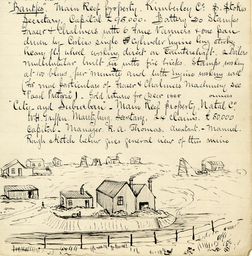 Extract from Tom Bickle's diary of 1889 with a drawing of his homestead in South Africa