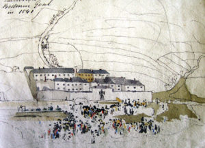 Watercolour sketch showing the execution of the Lightfoot brothers at Bodmin Gaol.
