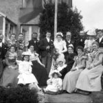 An undated scan from a glass negative titled 'Mr Harvey. Wedding Group', probably late 19th century,
