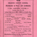 Prize day programme for Helston County School, dated 21 March 1912.