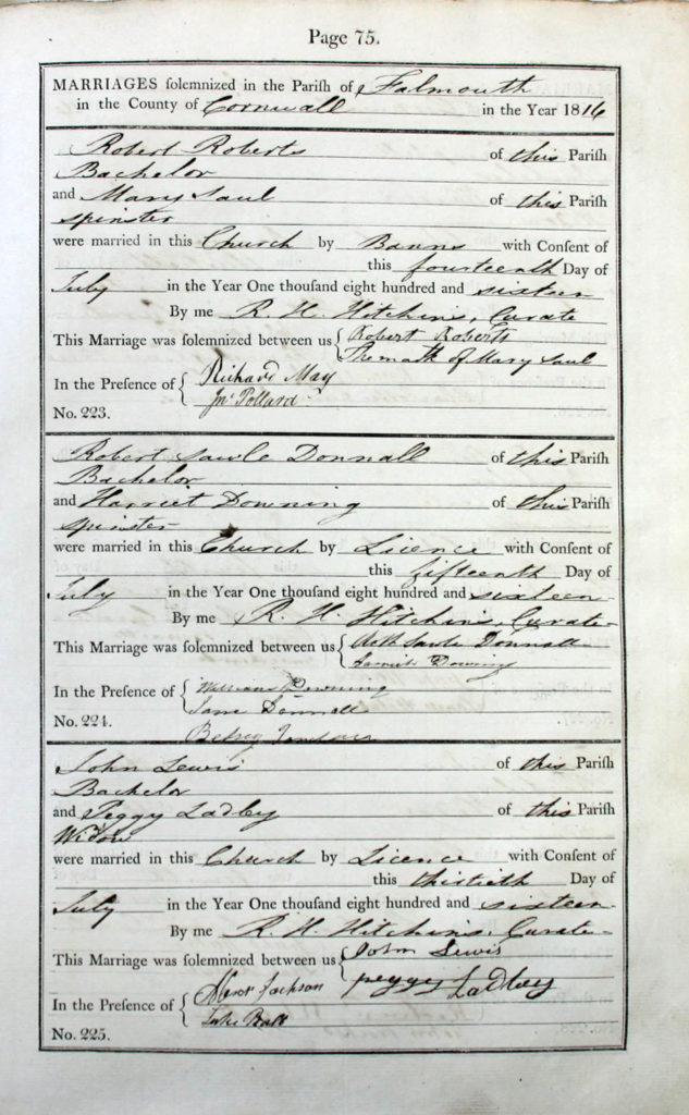 A page from the register of marriages from King Charles the Martyr Parish Church, Falmouth showing entries for July 1816.
