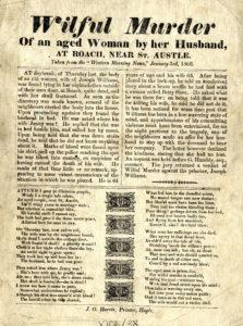 A scan of a broadsheet describing a murder at Roche in 1860.