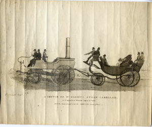 A printed sketch showing Goldsworthy Gurney's steam carriage.