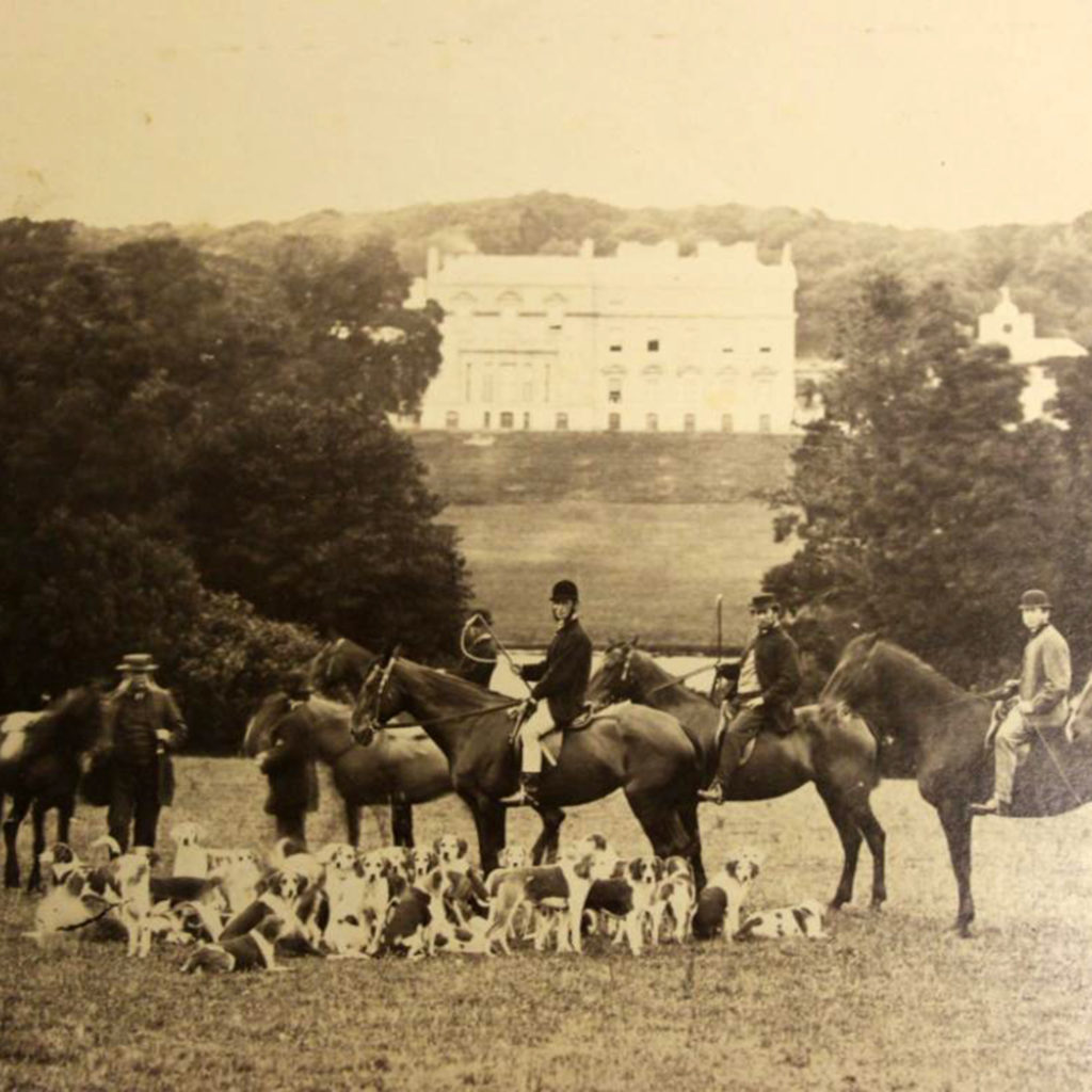 Photograph showing the hunt in the grounds of Tehidy House, Illogan, during the 1870s.