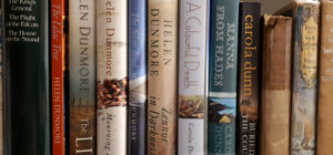 Photograph of a shelf showing fiction books
