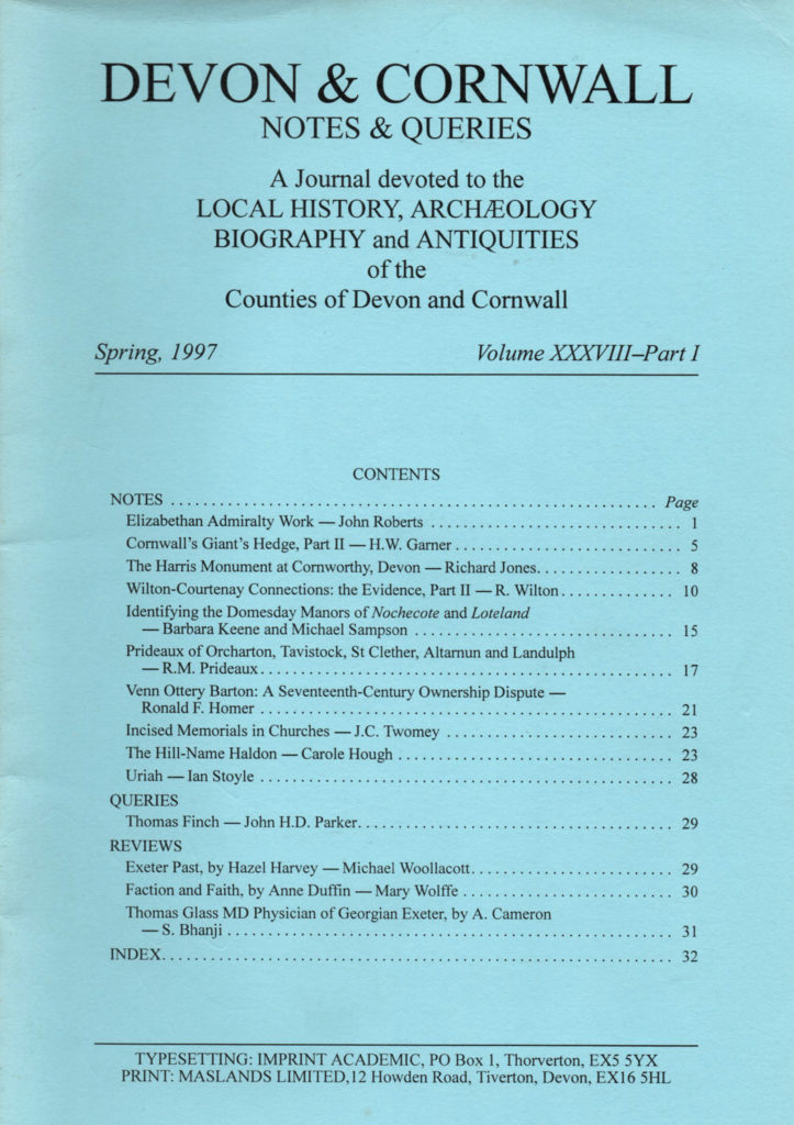 The front cover of Devon and Cornwall Notes and Queries, Spring 1997