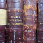A photograph of the spines of ledgers in our collections.