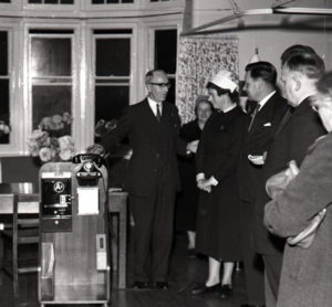 Photograph celebrating the arrival of the trolley telephone at Bodmin Hospital in 1959.