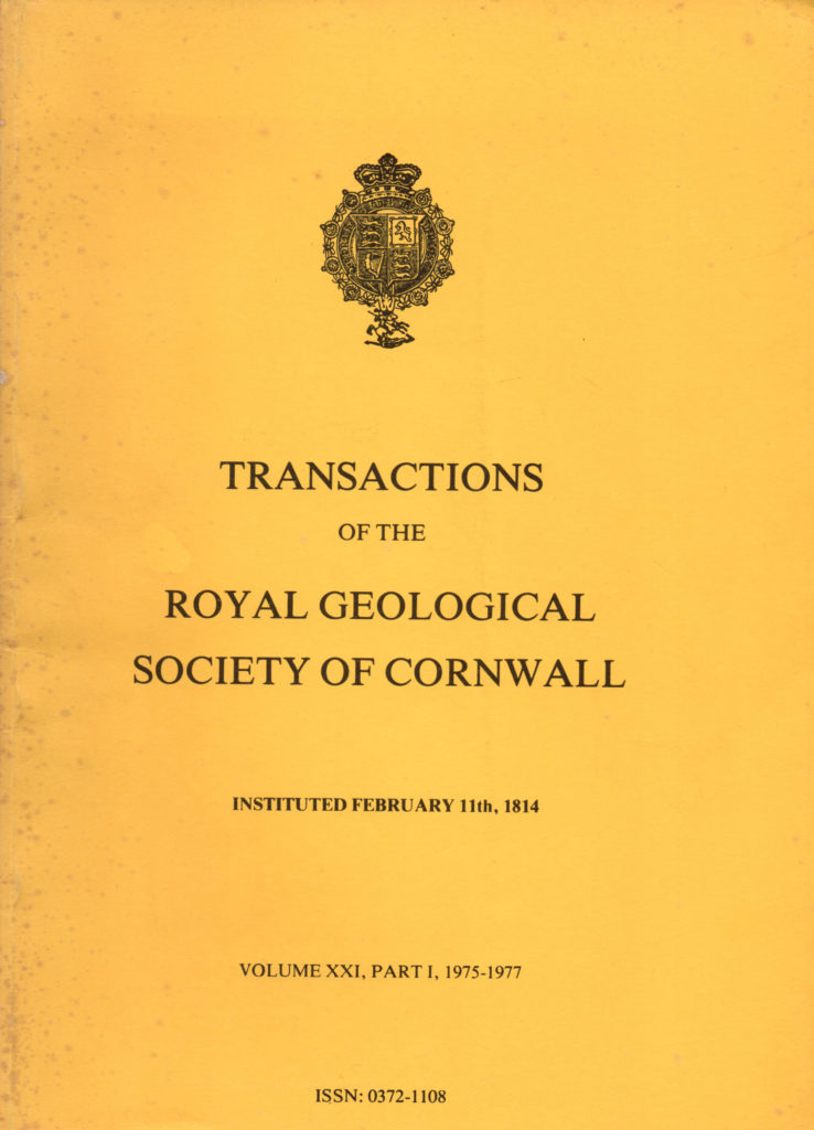 Front cover of the Transactions of the Royal Geological Society of Cornwall, 1975-1977