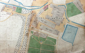 Watercolour showing Redruth Brewery and surrounding area in 1854, extracted from a sanitation map