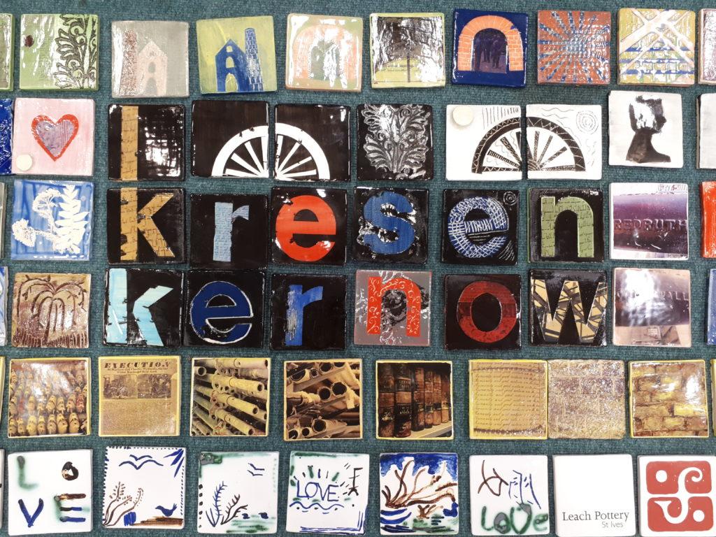 Photo of handmade Kresen Kernow tiles.