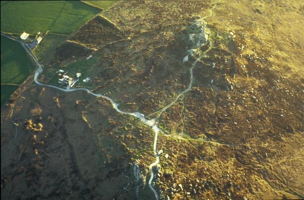 Colour aerial photo of Carn Brea.