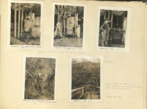 Scan of photo album showing mining photos