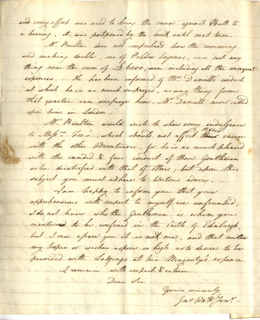 Scan of handwritten letter from James Watt.