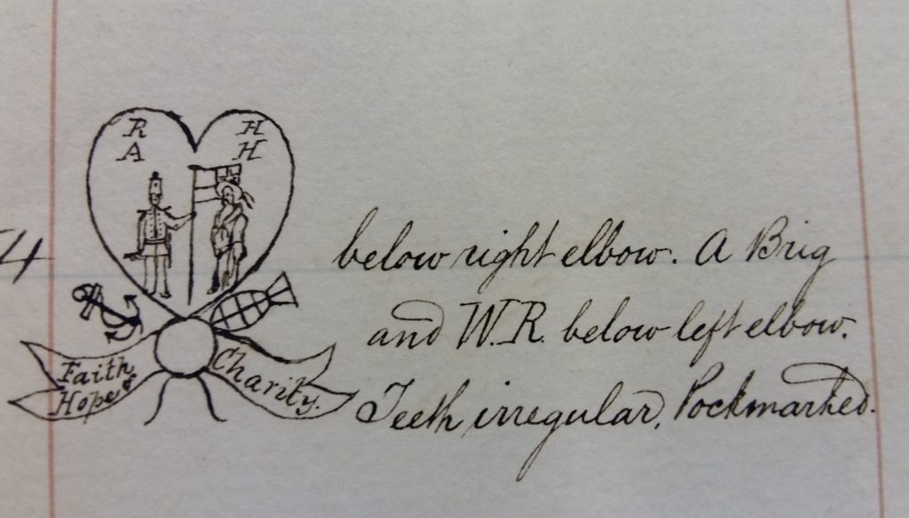 Extract from gaol register showing hand-drawn tattoo.