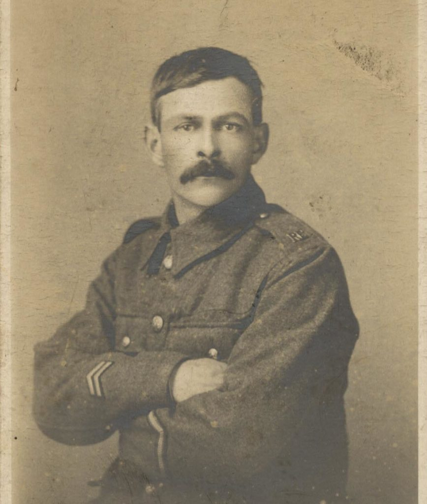Photograph of Joe Hugh in army uniform, 1914.
