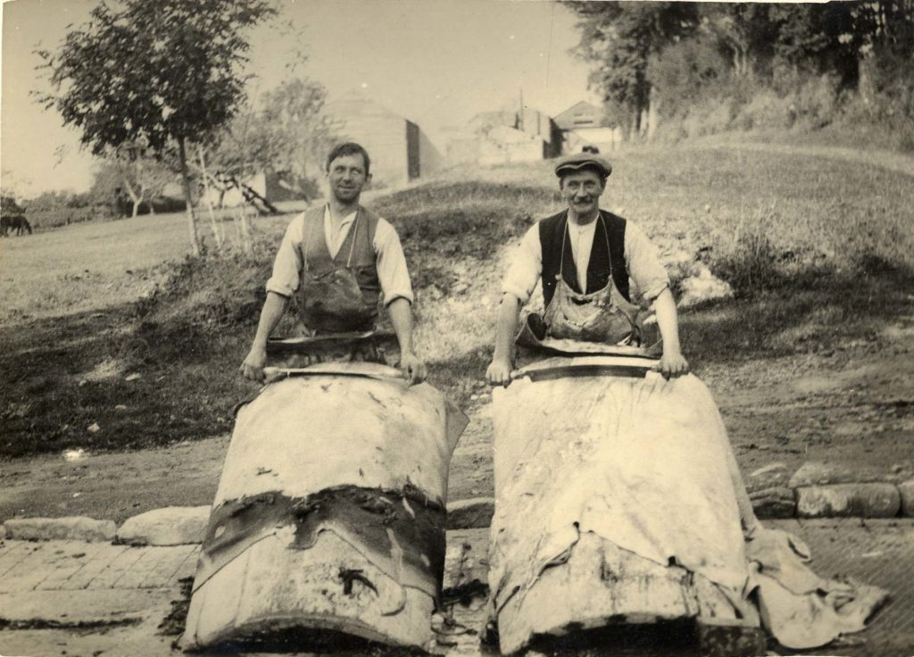 Photo of two tanners at Croggon Tannery.
