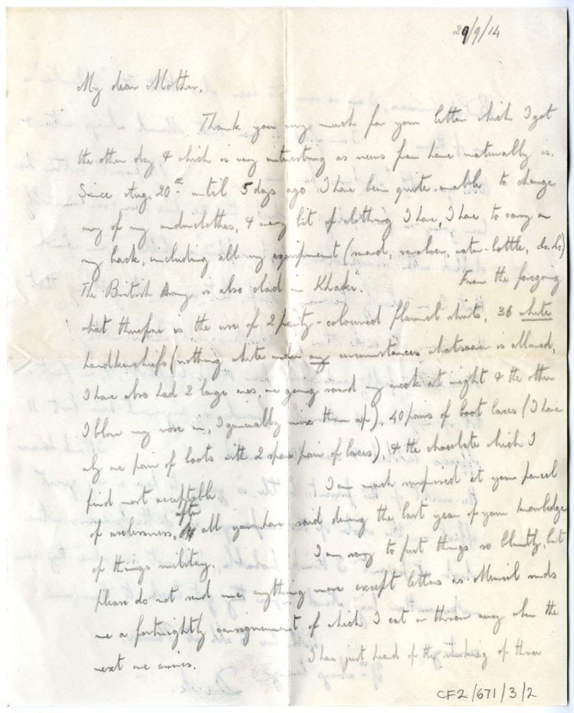 Scan of letter from WWI soldier.