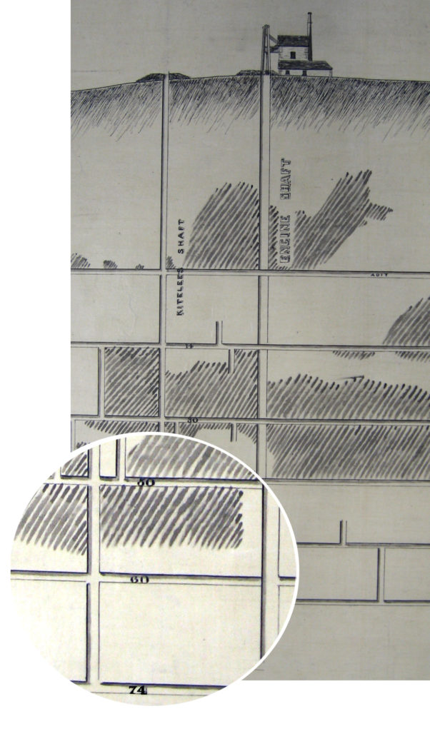 Extract from mine plan showing engine house and underground shafts.