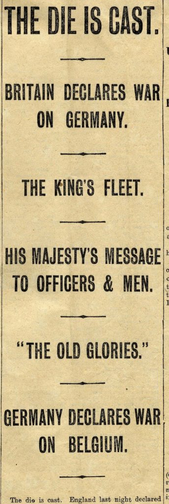 Extract from Western Morning News, 1914.