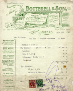 Scan of a receipt from a watchmaker.