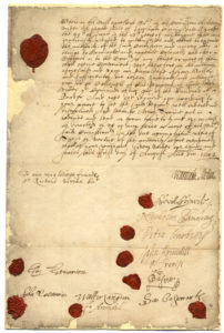 Scan of 1642 appointment of Richard Vyvyan as a colonel, with red wax seals.