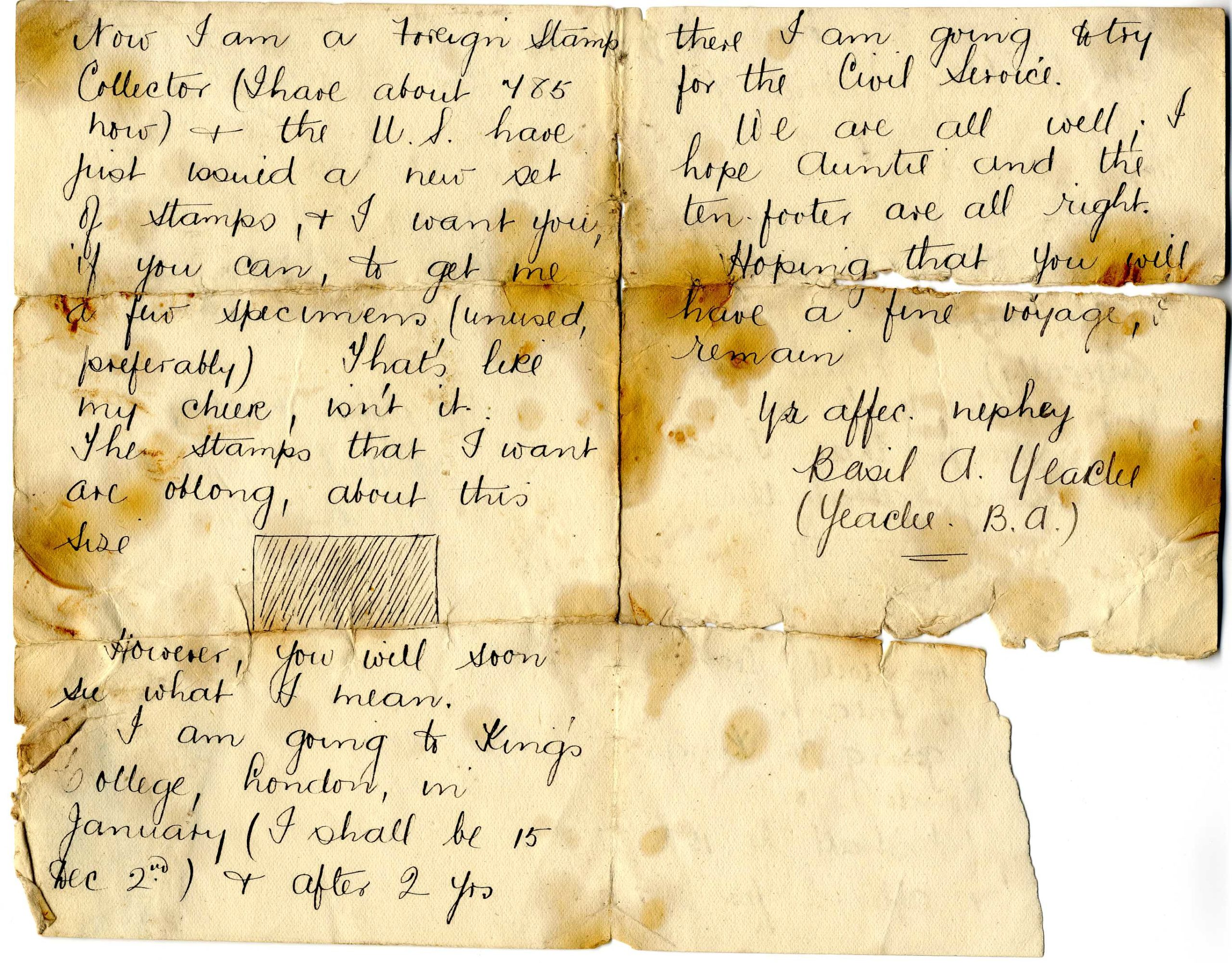 Scanned handwritten letter with water stains.