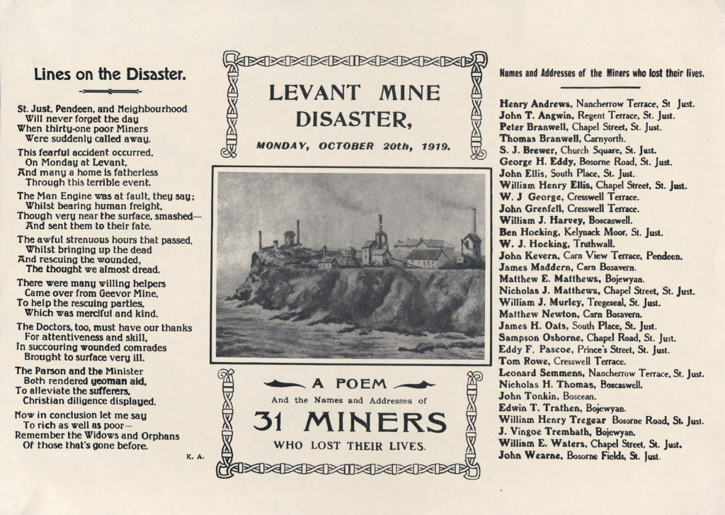 Scan of a printed leaflet about the Levant Mine Disaster, including poem, picture and list of victims.